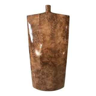 Large Burlwood Style Modern Ceramic Vase