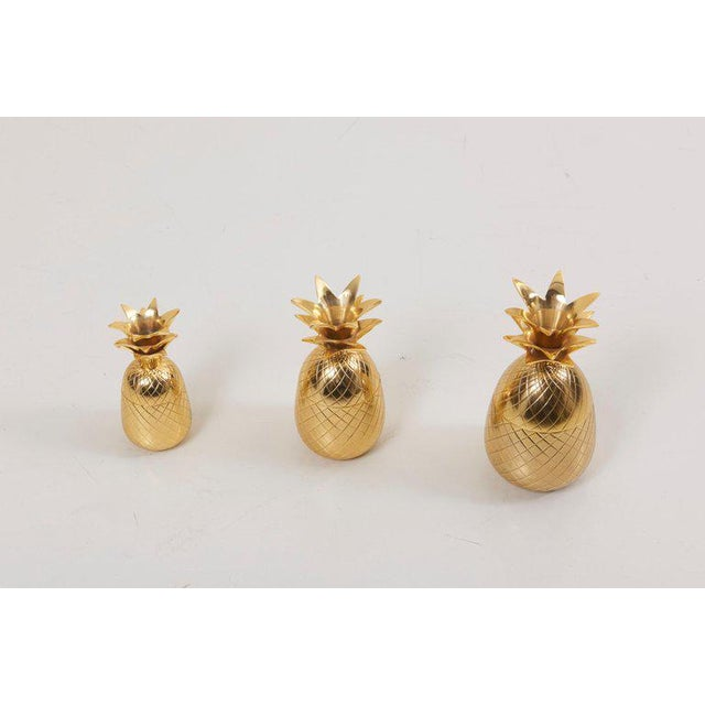 Hollywood Regency Set of 3 Brass Pineapple Ice Buckets or Candy Boxes For Sale - Image 3 of 9
