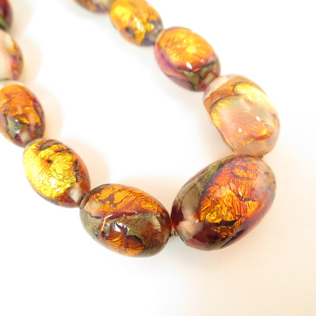 Venetian Fire Opal Foiled Glass Bead Necklace 1950s For Sale - Image 10 of 13