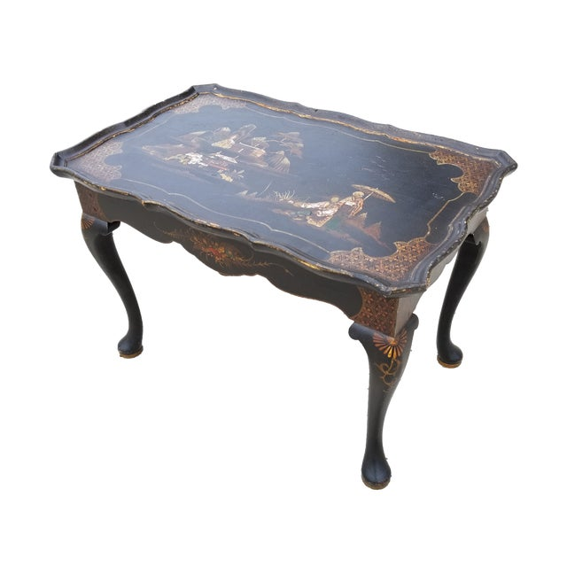 Antique Victorian English Queen Anne Style Chinoiserie Tea Table For Sale