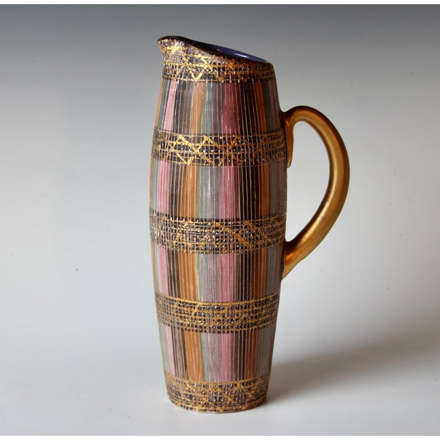 """Vintage Bitossi Seta pitcher, circa 1960's. Fine detail and great color. 11 3/4"""" high. Excellent condition."""