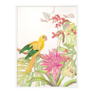 My Favorite Perch by Allison Cosmos in White Framed Paper, Large Art Print For Sale