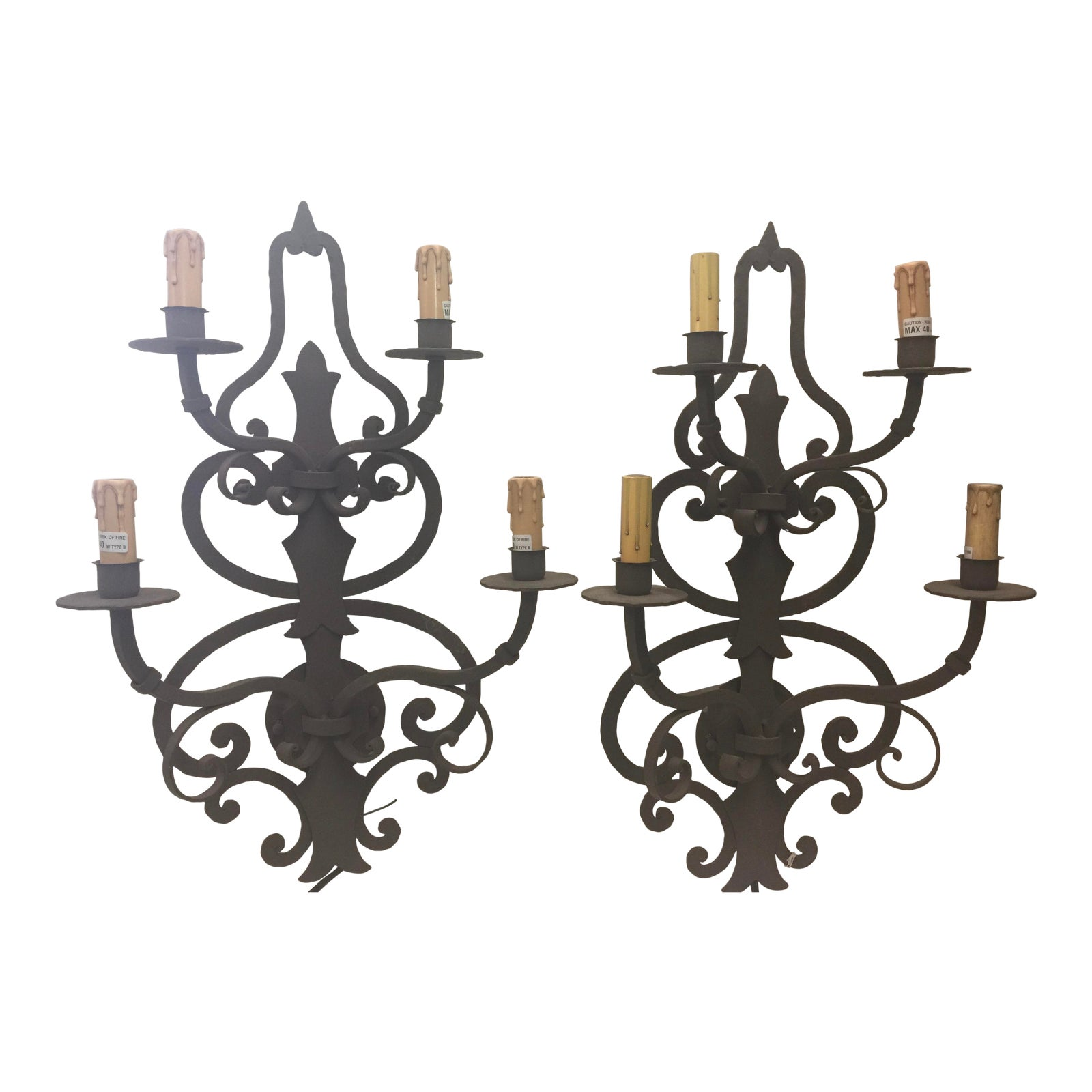 Mission Style Wrought Iron Wall Sconces A Pair 4 Light Chairish