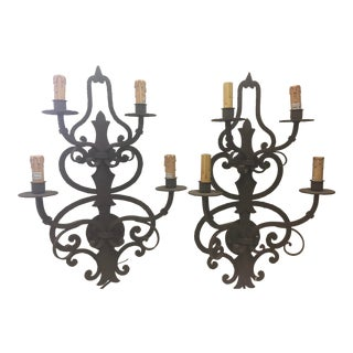 Mission Style Wrought Iron Wall Sconces a Pair 4 Light