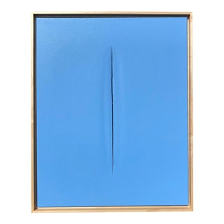 Blue Slice Modern Art Painting by Tony Curry For Sale
