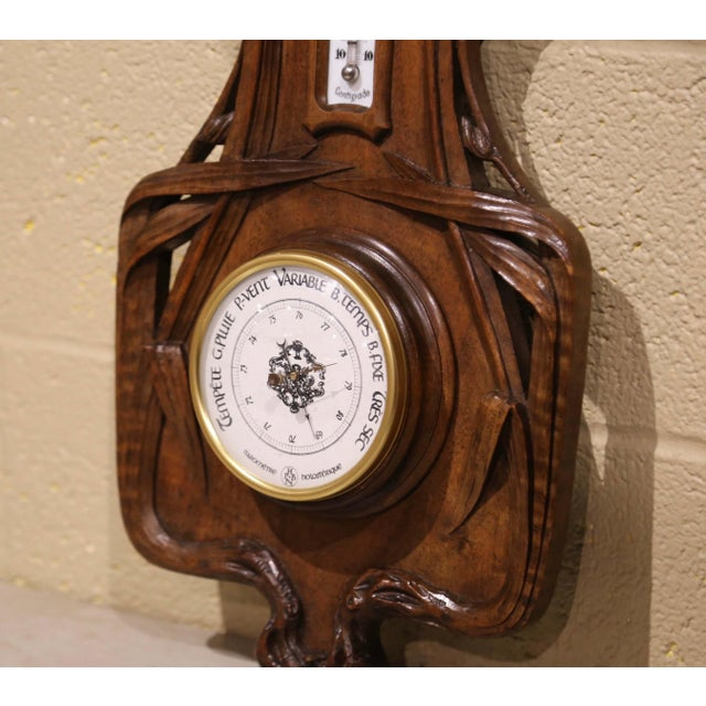 Late 19th Century 19th Century French Black Forest Carved Walnut Barometer With Foliage Decor For Sale - Image 5 of 7
