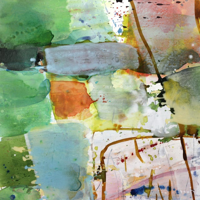 Belgian artist Greet Helsen masterfully layers acrylic paint with a transparency of watercolor paint in her large mixed...