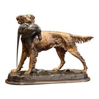 19th Century French Patinated Spelter Hunting Dog With Bird Signed J. Moigniez For Sale