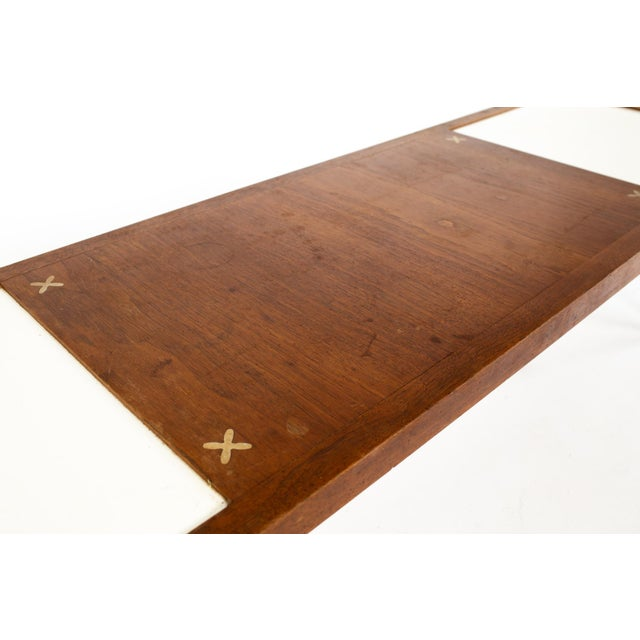 Merton Gershun for American of Martinsville Mid Century X Inlaid Walnut and White Laminate Coffee Table For Sale - Image 11 of 12