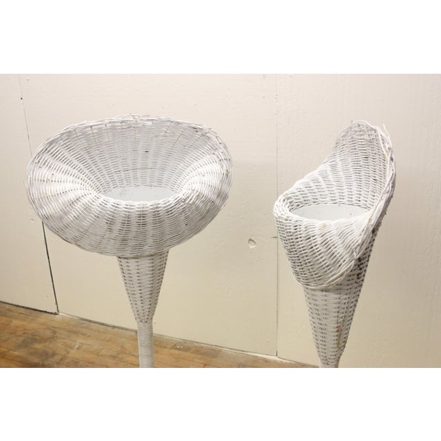 Modern White Wicker Lily-Shaped Tulip Planter Stands - a Pair For Sale - Image 4 of 11