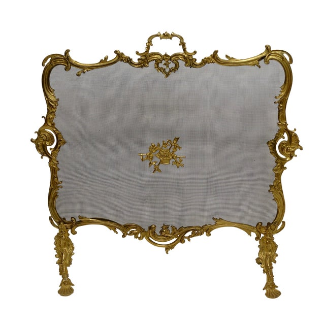 Brass Rococo Style Fireplace Screen For Sale - Image 7 of 7