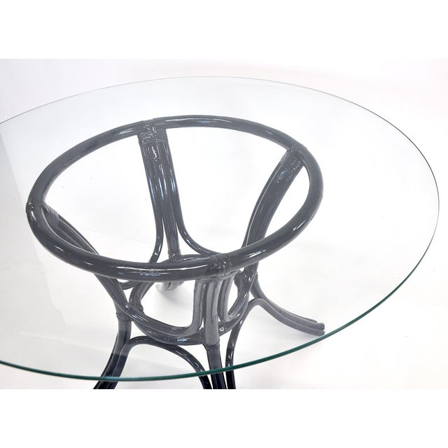 Mid-Century Modern Bamboo Glass-Top Table For Sale - Image 3 of 5