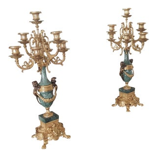Solid Brass, Bronze and Marble Candelabra - a Pair For Sale