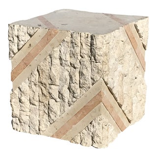 1990s Vintage Tessellated Stone Coffee Table Pedestal Base For Sale
