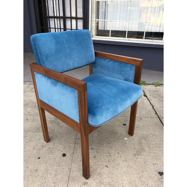 Blue Robert John Walnut Arm Chairs in Blue Velvet For Sale - Image 8 of 11