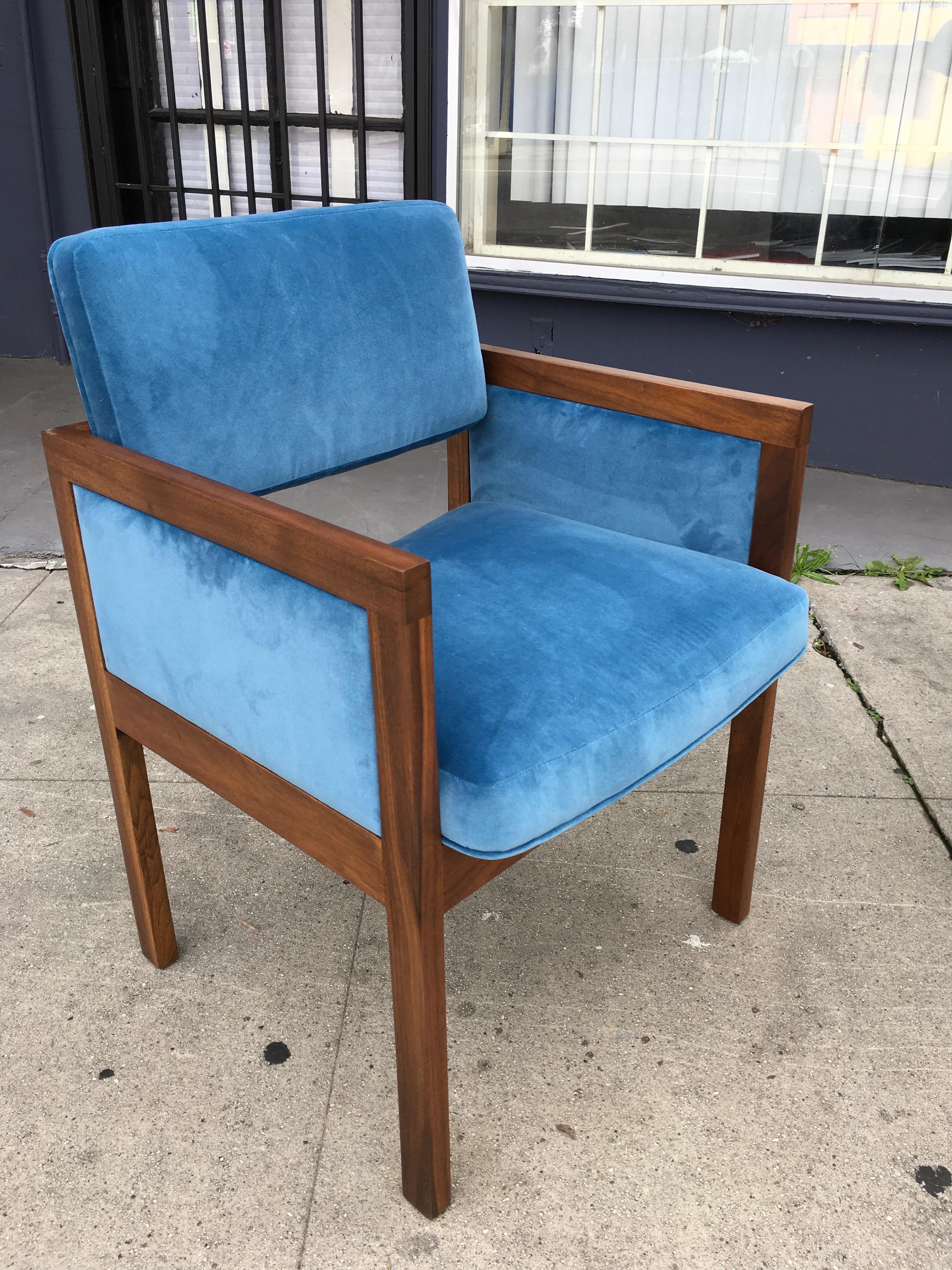 Robert John Walnut Arm Chairs In Blue Velvet   Image 8 Of 11