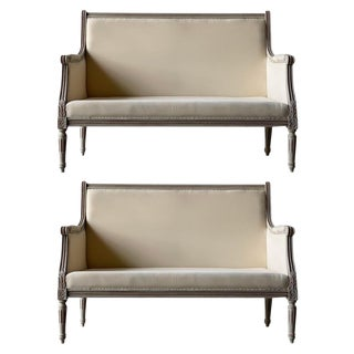 Swedish Upholstered Settees - a Pair For Sale