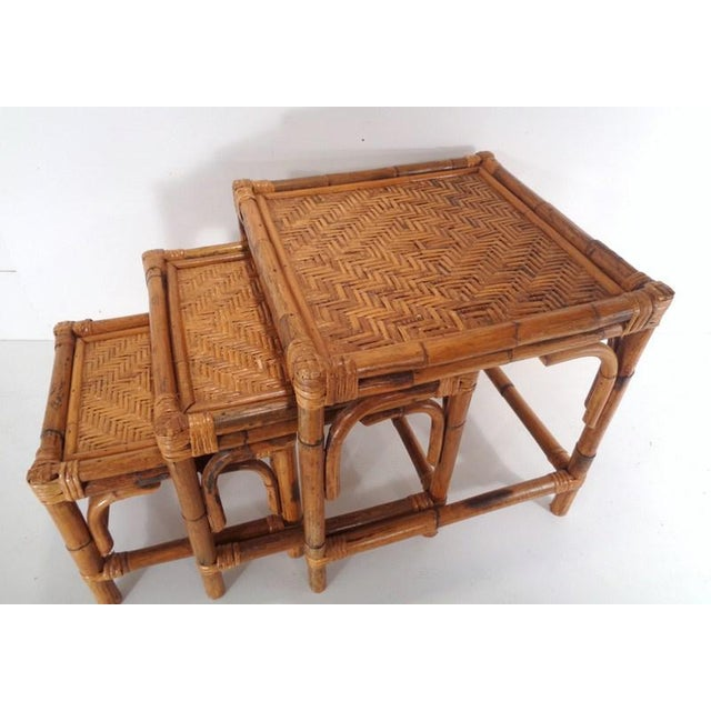 Mid Century Organic Modern Bamboo Side Nesting Tables For Sale In Nashville - Image 6 of 11