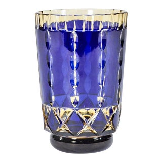 Val St. Lambert Art Deco Handblown Two-Color Cobalt Blue Cut to Topaz Vase For Sale