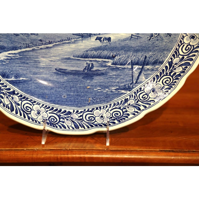 Delft Early 20th Century Dutch Hand-Painted Delft Platter With Pastoral Scene For Sale - Image 4 of 11