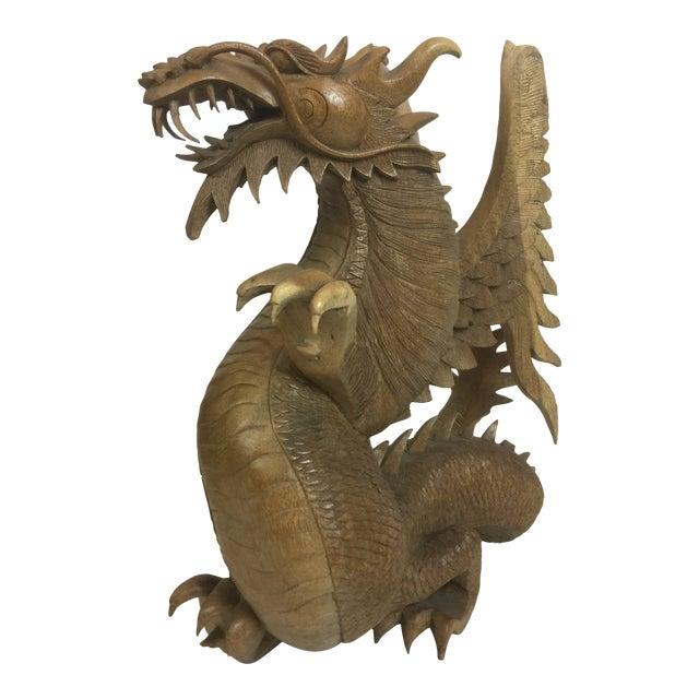 Rare Magnificent Vintage-Carved Wooden Dragon Figurine For Sale