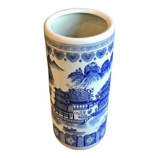 1950s Vintage Chinoiserie Blue and White Porcelain Umbrella Stand For Sale