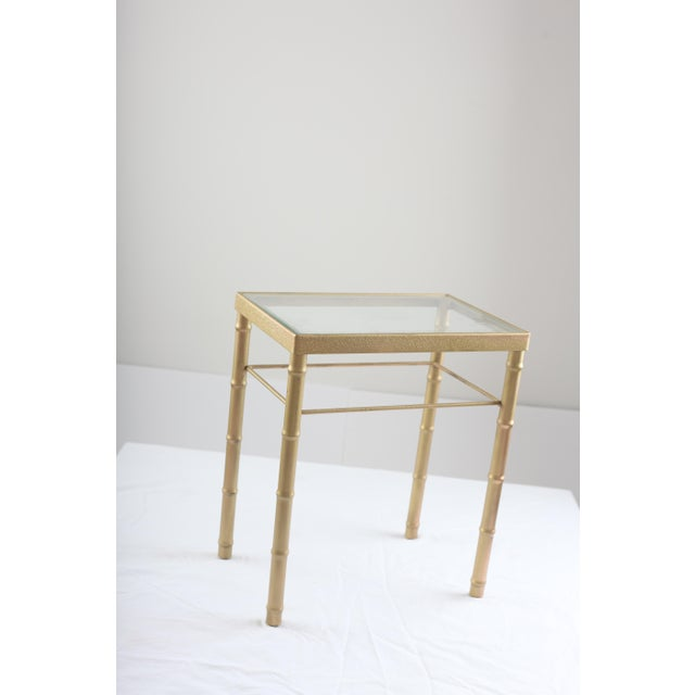 Faux Bamboo Brass & Glass Nesting Tables - Pair - Image 5 of 8
