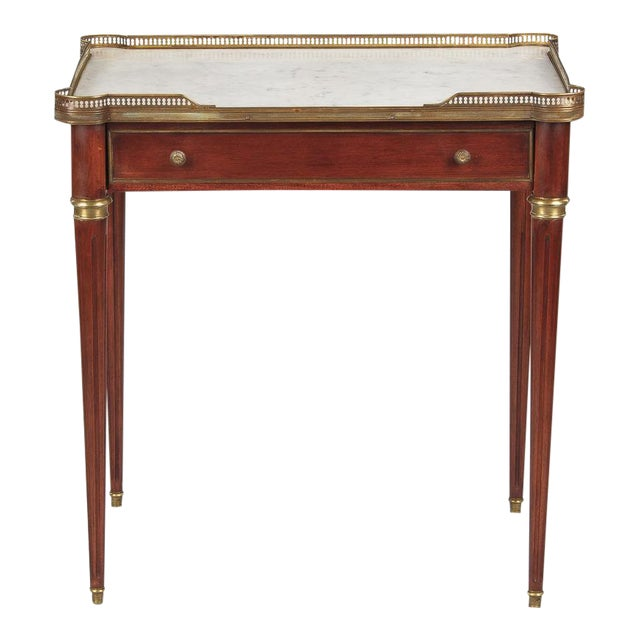 Louis XVI Style Marble-Top Rosewood Side/Serving Table, 1900s - Image 1 of 10