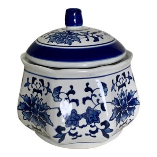 Blue and White Round Ceramic Cookie Jar For Sale
