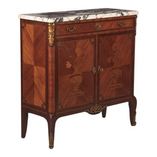 Early 20th Century French Transition Style Marquetry Marble Top Sideboard For Sale