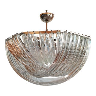 Large Mid-Century Modern Triedri Venini Clear Glass Chandelier, 2 Available For Sale