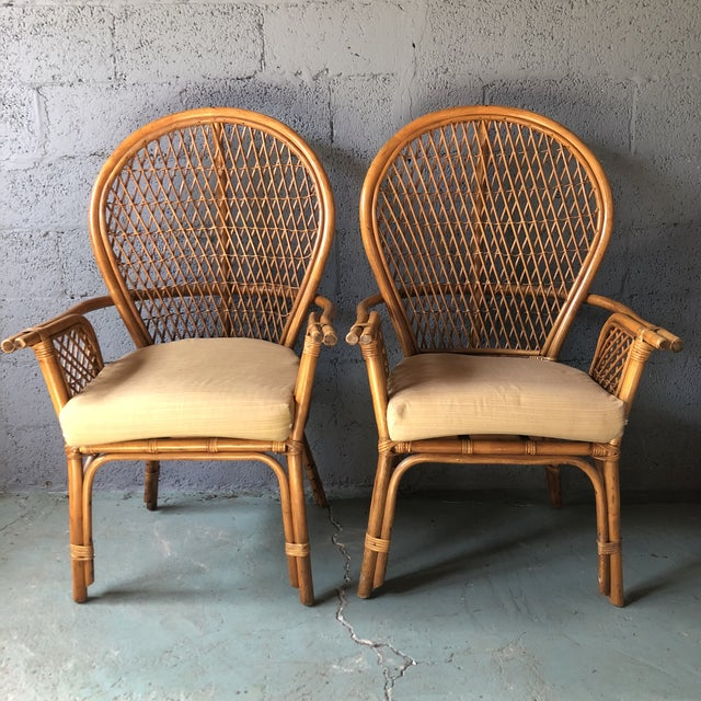 1980s Boho Chic Rattan Fan Peacock Chairs - a Pair For Sale - Image 13 of 13
