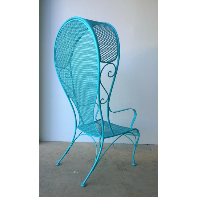 Mid 20th Century Mid-Century Modern Russell Woodard Blue Canopy Patio Chair For Sale - Image 5 of 10