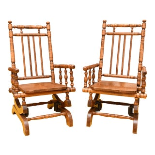 Antique Wooden Children's Rockers- A Pair For Sale