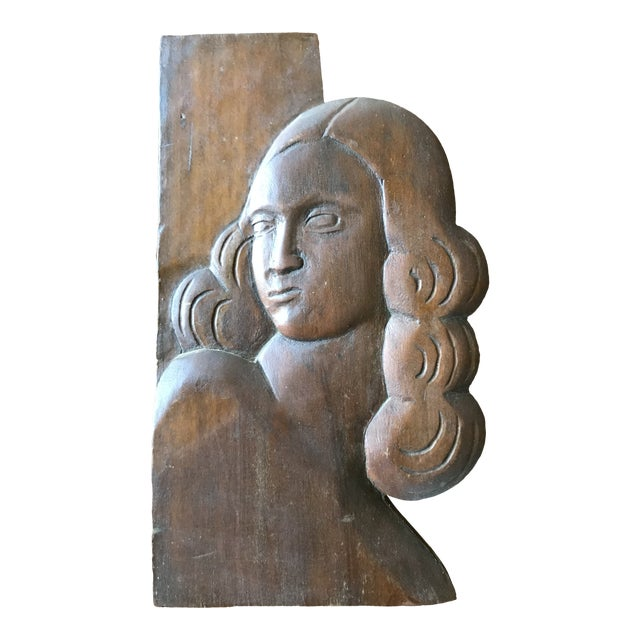 Folk Art Relief Carving of a Woman For Sale