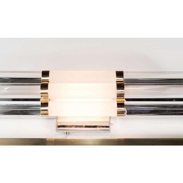Mid-Century Modernist Skyscraper Style Vanity Light with Brass Fittings For Sale In New York - Image 6 of 7