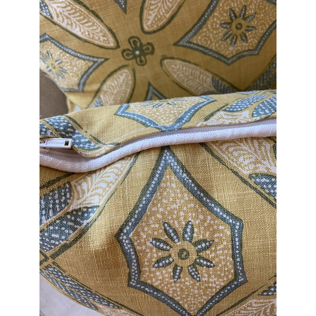 """2020s Custom Pillows in Kathryn M Ireland """"Graham"""" Designer Fabric - A Pair For Sale - Image 5 of 9"""