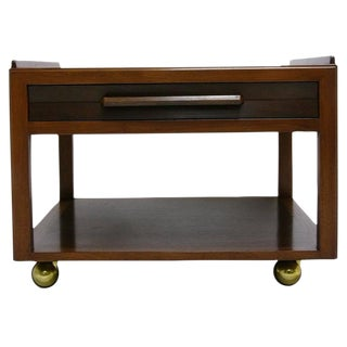 Excellent Edward Wormley for Dunbar End Table on Brass Casters For Sale