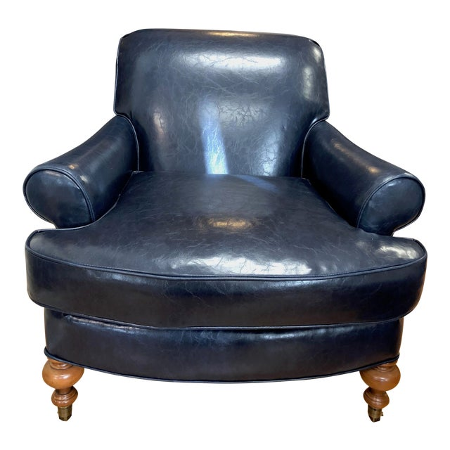 Tcs Designs Blue Vegan Leather Chair For Sale