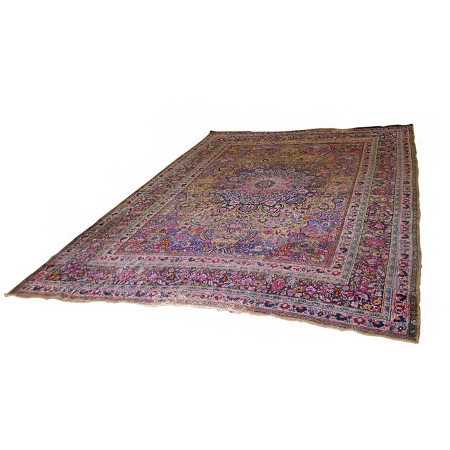 "1920s Handwoven Kerman Rug 13' 2"" X 10' 4"" For Sale - Image 13 of 13"