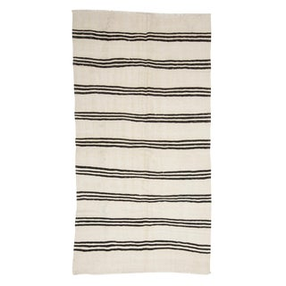 Black & White Striped Vintage Kilim Rug-4′5″ × 8′4″ For Sale