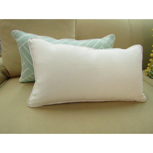 Contemporary Pattern Lumbar Pillows in Seafoam - a Pair For Sale - Image 4 of 6