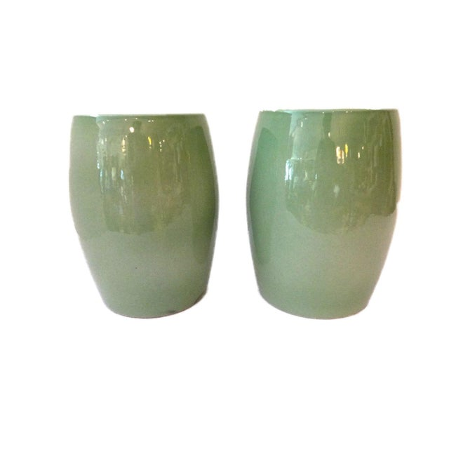 Celadon Garden Stools - A Pair For Sale - Image 4 of 6
