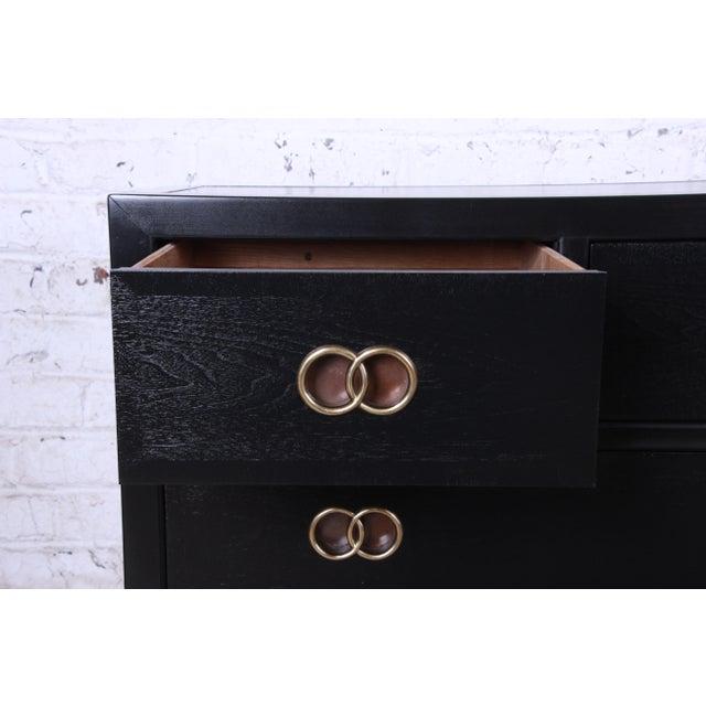Brass Michael Taylor for Baker Furniture Hollywood Regency Ebonized Long Dresser or Credenza For Sale - Image 7 of 13