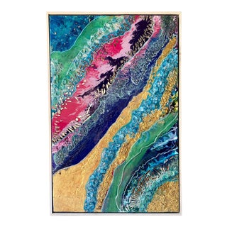 Unique Abstract Framed Oil Painting With Resin and Rock Crystal on Canvas by Franchy For Sale