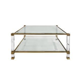 1970s Square Two-Tier Brass and Lucite Coffee Table For Sale