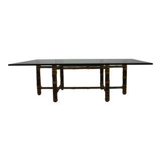McGuire Glass Topped Coffee Table For Sale