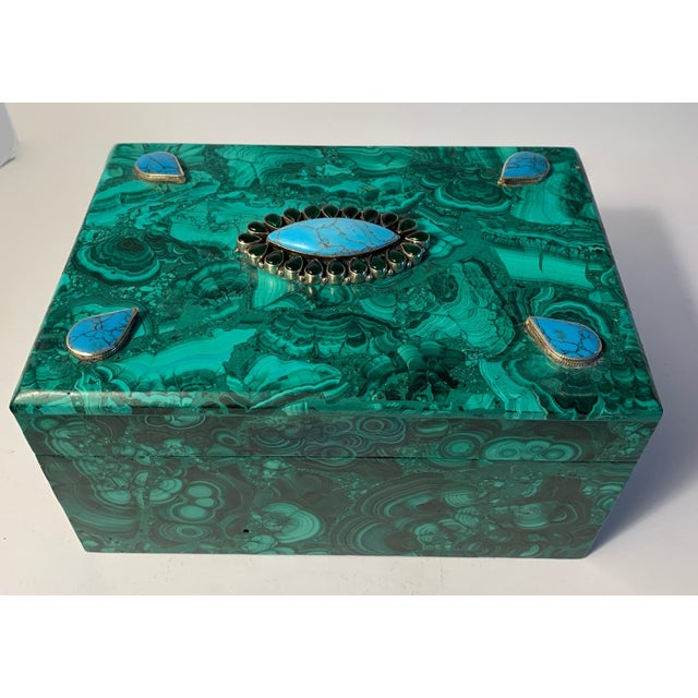 Malachite Box With Semi Precious Stones Set in Sterling For Sale - Image 4 of 12