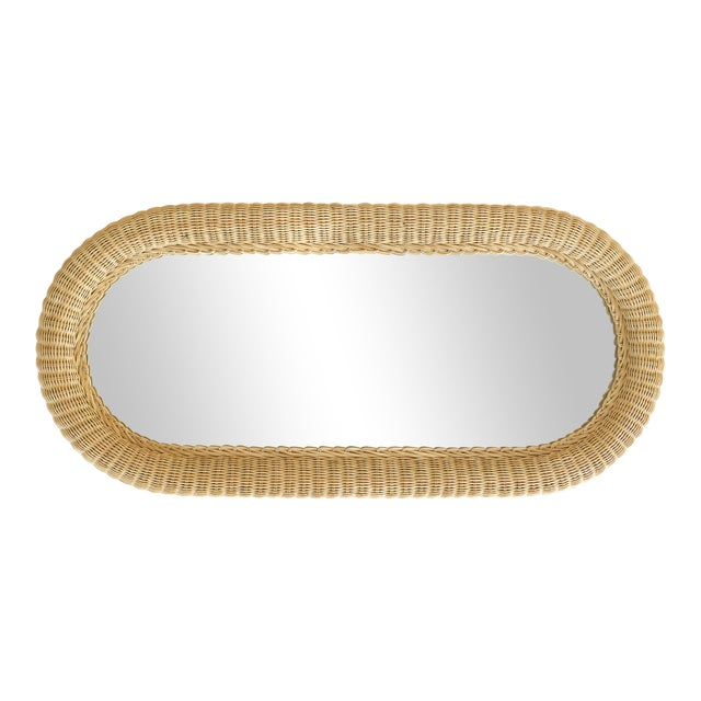 Overscale Vintage Elongated Woven Wicker Wall Mirror For Sale - Image 4 of 7