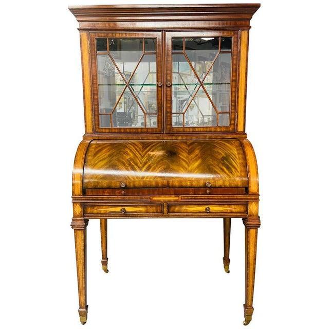 Vintage Regency Maitland Smith Flame Mahogany Burl Two Part Secretary Desk For Sale - Image 13 of 13